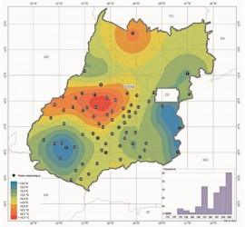[noticia: estudo-aponta-tendencia-de-aumento-da-temperatura-do-ar-em-goias] Distribuição das ocorrências de temperaturas mínimas no Estado de Goiás (Foto: Divulgação Embrapa) - ESTUDO_AUMENTO_TEMPERATURA_GOIAS_UFG_EMBRAPA.jpg
