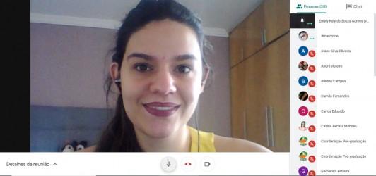 [noticia: nova-palestra-online-reune-25-estudantes] Emely Gomes foi a responsável por ministrar a palestra online aos acadêmicos da UniAraguaia - PALESTRA INSTITUCIONAL UNIARAGUAIA.jpg