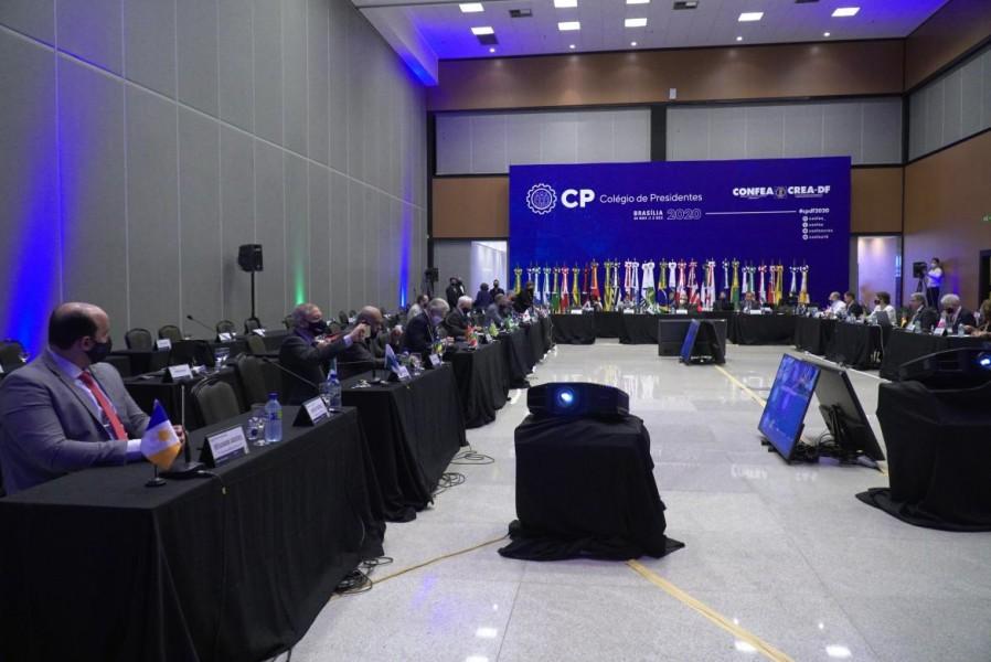 [noticia: colegio-de-presidentes-um-projeto-para-o-brasil-marca-abertura-do-2-dia-da-reuniao] A última reunião do Colégio de Presidentes de 2020 será finalizada nesta quarta-feira (2/12) (foto: Confea) - CP PROJETO PARA O BRASIL 01.jpg