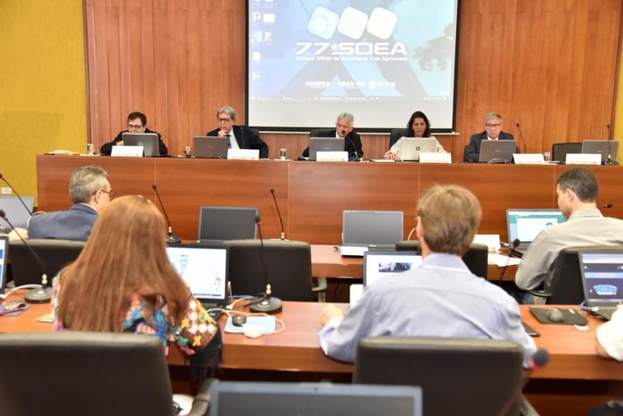 [noticia: ultima-reuniao-da-cceee-e-realizada-em-goiania] Profissionais compõem mesa de abertura da reunião Foto: Silvio Simões - REUNIAO_CCEEE_2.JPG